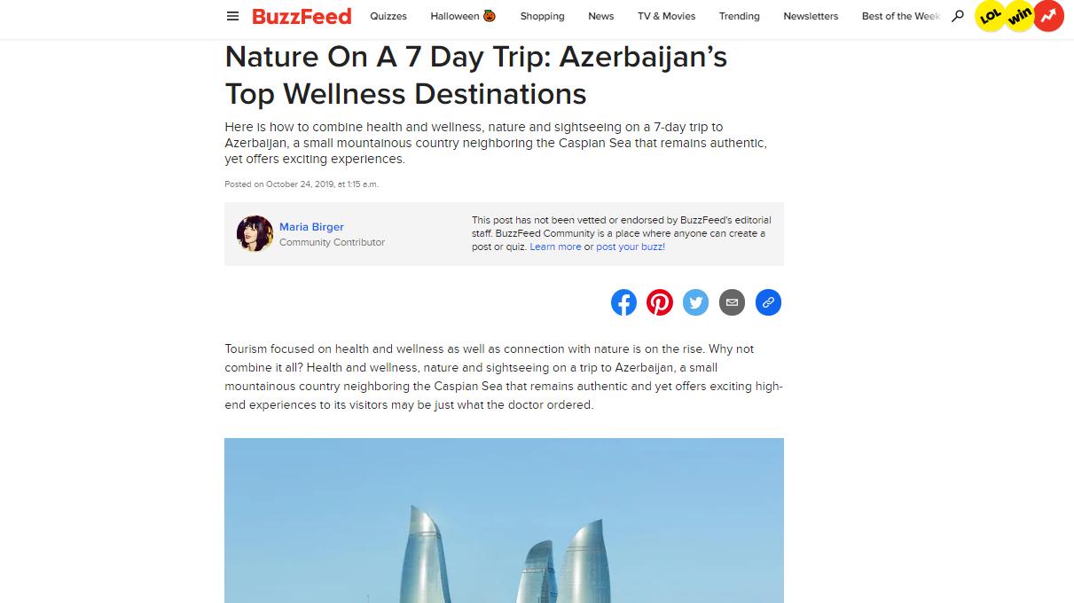 """Qlobal media platforması olan """"BuzzFeed"""" hər kəsi Azərbaycana 7 günlük səyahətə çağırıb"""